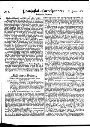 Provinzial-Correspondenz vom 23.01.1878