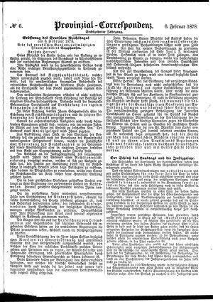 Provinzial-Correspondenz vom 06.02.1878