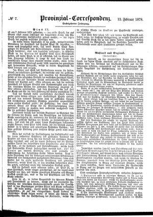 Provinzial-Correspondenz vom 13.02.1878