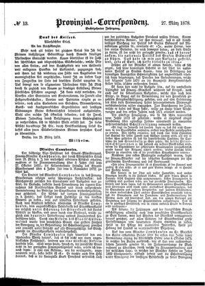 Provinzial-Correspondenz vom 27.03.1878
