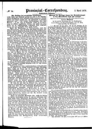 Provinzial-Correspondenz vom 03.04.1878