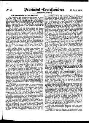 Provinzial-Correspondenz vom 17.04.1878