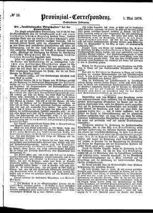 Provinzial-Correspondenz vom 01.05.1878
