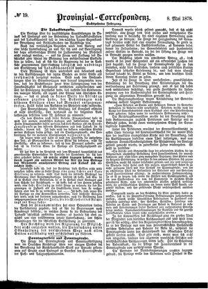 Provinzial-Correspondenz vom 08.05.1878