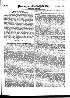 Provinzial-Correspondenz vom 22.05.1878