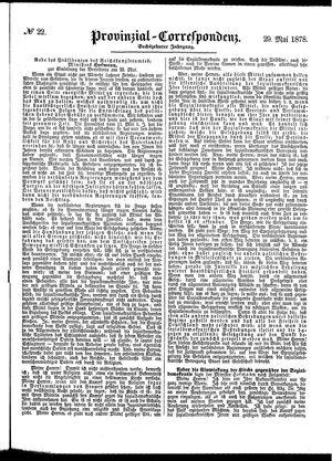 Provinzial-Correspondenz vom 29.05.1878