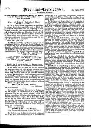 Provinzial-Correspondenz vom 12.06.1878