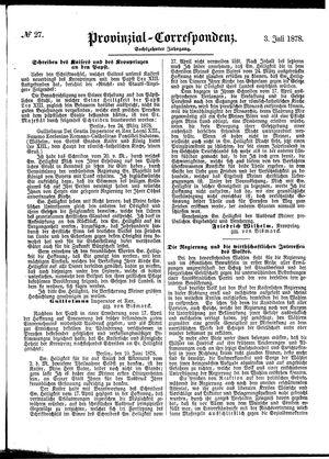 Provinzial-Correspondenz vom 03.07.1878