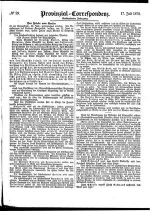 Provinzial-Correspondenz vom 17.07.1878