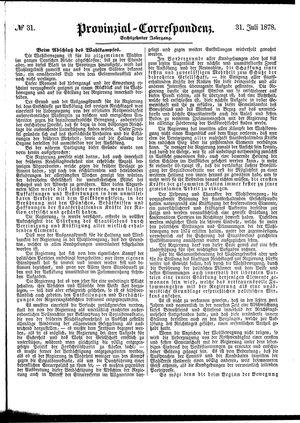 Provinzial-Correspondenz vom 31.07.1878