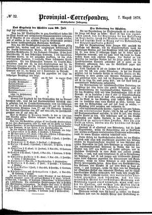 Provinzial-Correspondenz vom 07.08.1878