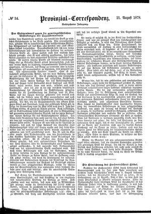 Provinzial-Correspondenz vom 21.08.1878