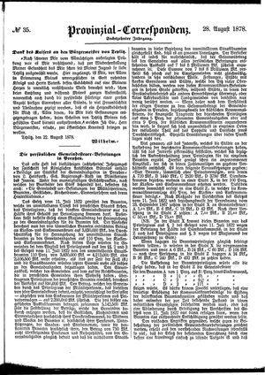 Provinzial-Correspondenz vom 28.08.1878