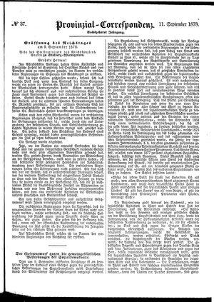 Provinzial-Correspondenz vom 11.09.1878
