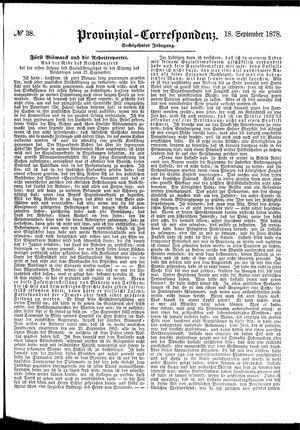 Provinzial-Correspondenz vom 18.09.1878