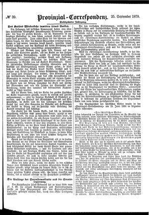Provinzial-Correspondenz vom 25.09.1878