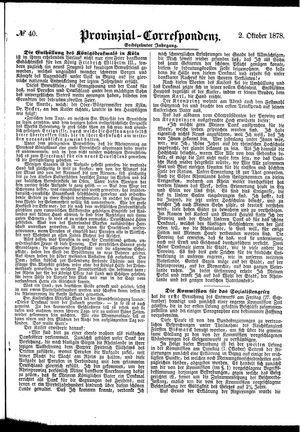 Provinzial-Correspondenz vom 02.10.1878