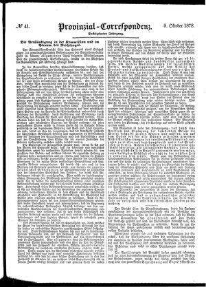 Provinzial-Correspondenz vom 09.10.1878
