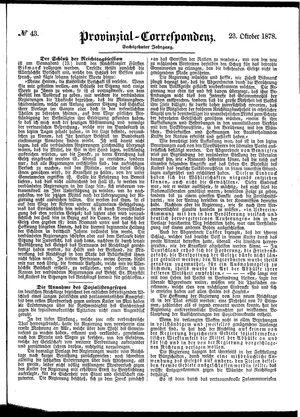 Provinzial-Correspondenz vom 23.10.1878