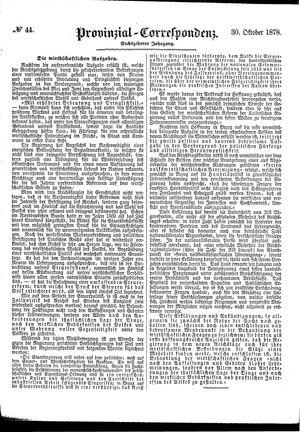 Provinzial-Correspondenz vom 30.10.1878