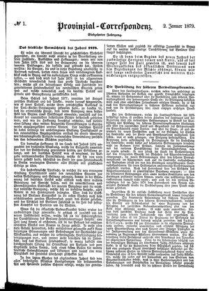 Provinzial-Correspondenz vom 02.01.1879
