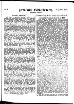 Provinzial-Correspondenz vom 22.01.1879