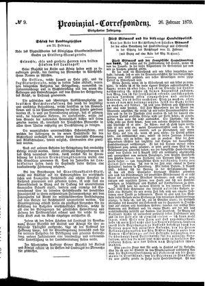 Provinzial-Correspondenz vom 26.02.1879