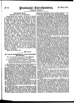 Provinzial-Correspondenz vom 26.03.1879