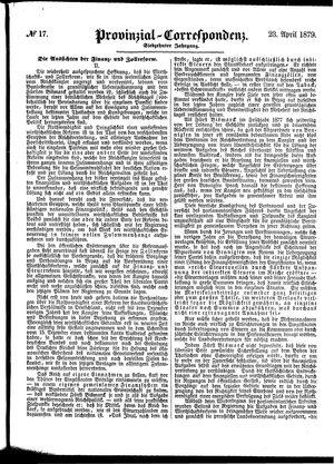 Provinzial-Correspondenz vom 23.04.1879
