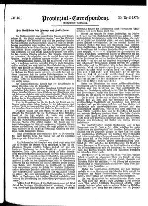 Provinzial-Correspondenz vom 30.04.1879