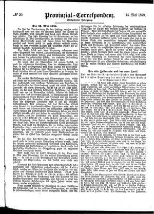 Provinzial-Correspondenz vom 14.05.1879