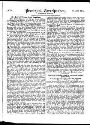 Provinzial-Correspondenz vom 25.06.1879