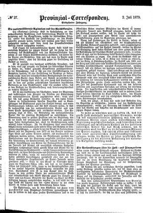 Provinzial-Correspondenz vom 02.07.1879