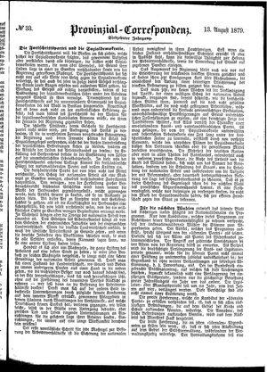 Provinzial-Correspondenz vom 13.08.1879