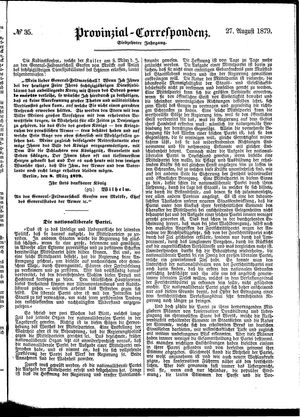 Provinzial-Correspondenz vom 27.08.1879