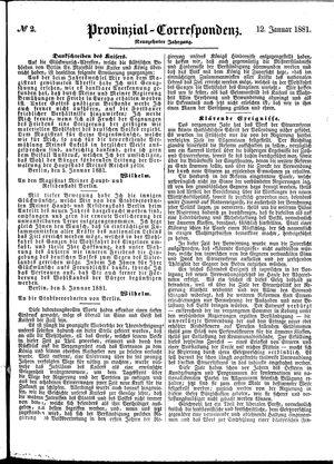 Provinzial-Correspondenz vom 12.01.1881