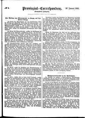 Provinzial-Correspondenz vom 26.01.1881