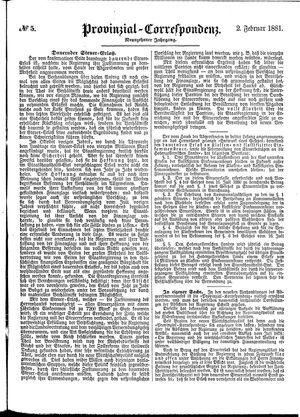 Provinzial-Correspondenz vom 02.02.1881