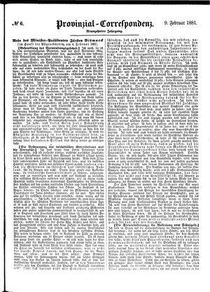 Provinzial-Correspondenz vom 09.02.1881