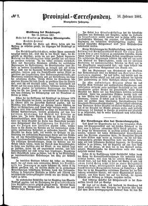 Provinzial-Correspondenz vom 16.02.1881