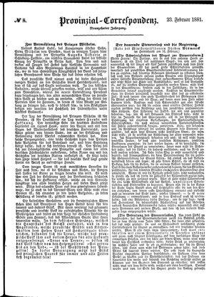 Provinzial-Correspondenz vom 23.02.1881