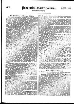 Provinzial-Correspondenz vom 02.03.1881