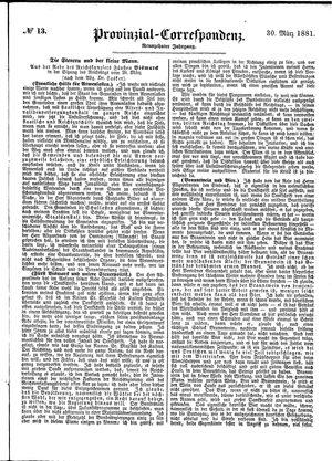 Provinzial-Correspondenz vom 30.03.1881