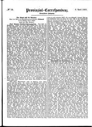 Provinzial-Correspondenz vom 06.04.1881