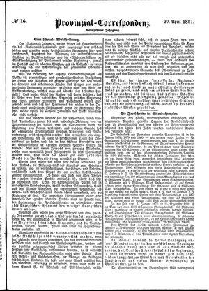 Provinzial-Correspondenz vom 20.04.1881