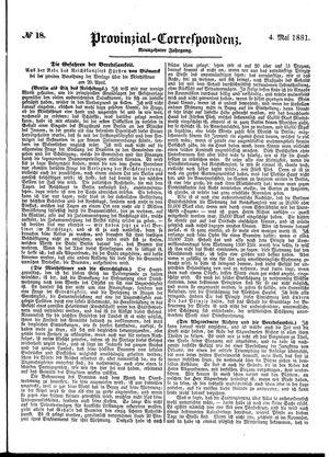 Provinzial-Correspondenz vom 04.05.1881