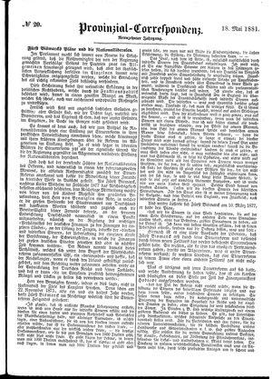 Provinzial-Correspondenz vom 18.05.1881