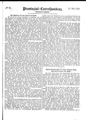 Provinzial-Correspondenz vom 25.05.1881