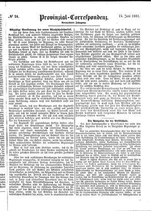 Provinzial-Correspondenz vom 15.06.1881