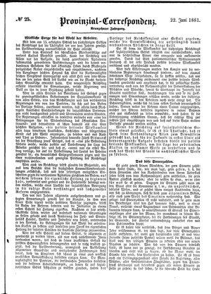 Provinzial-Correspondenz vom 22.06.1881